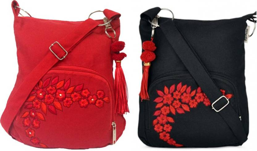 Pick Pocket Combo of two Cute Small Red and Black Sling Bag Messenger Bag ( Black 5ff6fc0918ebf