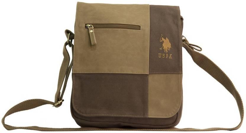 ... sale 051c5  U.S. Polo Assn Brown Zip Sling Bag With Flap Messenger Bag  cheaper 7e150 35aef ... d9b445b1b9677