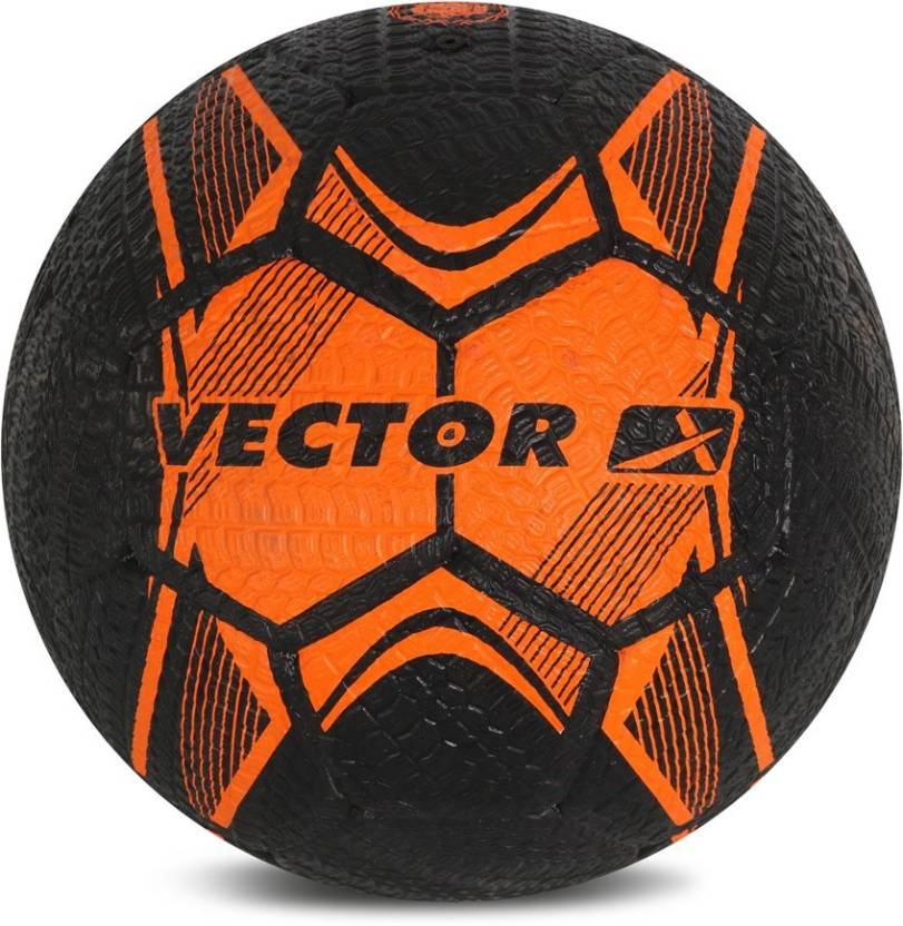 Vector X Street Soccer Rubber Moulded Football   Size: 5 Pack of 1, Black, Orange
