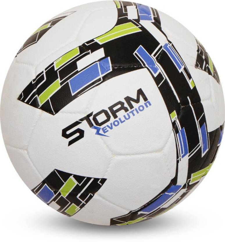 Nivia Storm Revolution Football - Size: 5  (Pack of 1, White, Green)