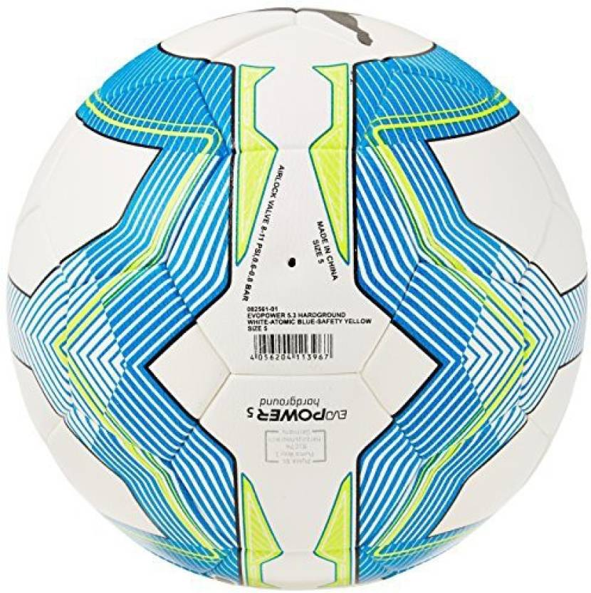 11f53d238140 Puma EVO POWER 5.3 HARDGROUND Football - Size: 5 (Pack of 1, White, Blue,  Yellow)