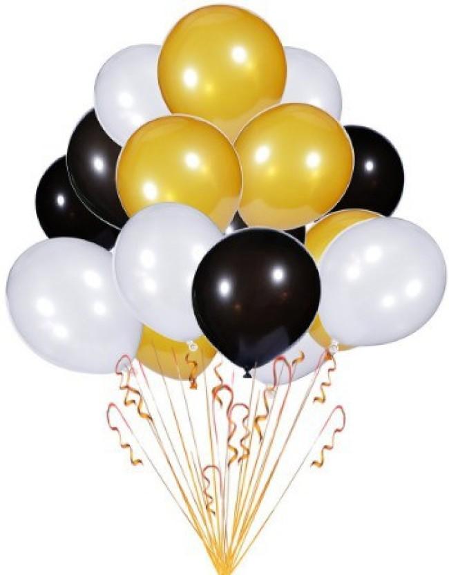 PartyballoonsHK Solid Metallic Golden, White \u0026 Black Birthday,Party,  Decoration (Pack of 50) Balloon