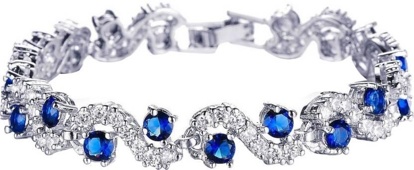 Jewels Galaxy Alloy Cubic Zirconia Platinum Charm Bracelet