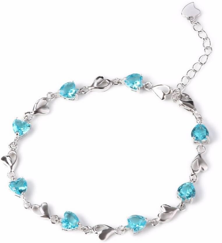 fdc58a521 Nevi Silver Swarovski Crystal Rhodium Charm Bracelet Price in India - Buy  Nevi Silver Swarovski Crystal Rhodium Charm Bracelet Online at Best Prices  in ...