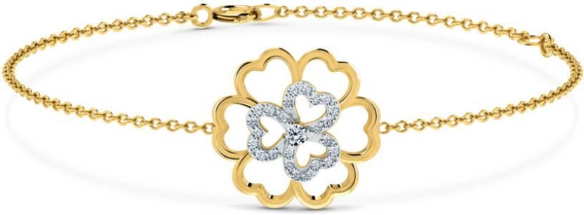 Caratlane Floral Yellow Gold 18kt Diamond Bracelet Price in India