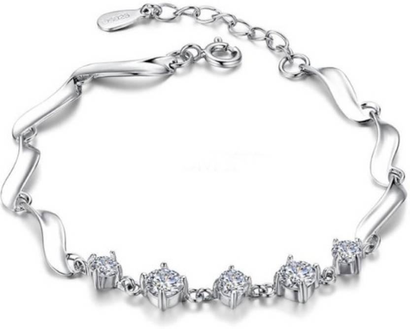 f3ce80d44 Silver Shoppee Sterling Silver Swarovski Crystal Bracelet Price in India -  Buy Silver Shoppee Sterling Silver Swarovski Crystal Bracelet Online at  Best ...