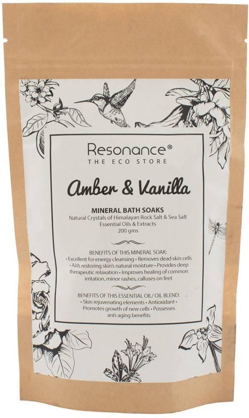Resonance Mineral Bath Soak (Bathing Salt) in Amber and Vanilla Essential  Oil Himalayan Rock Salt Blends