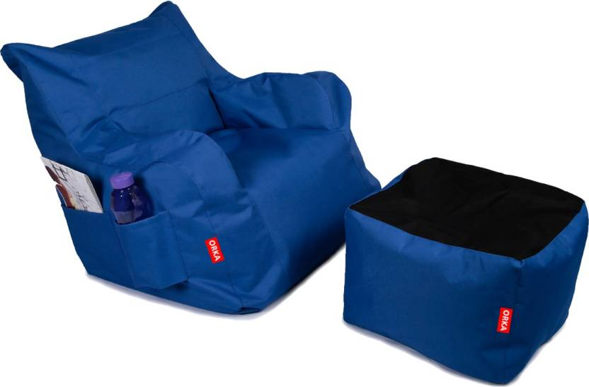 ORKA XXL Chair Bean Bag Cover  Without Beans  Blue