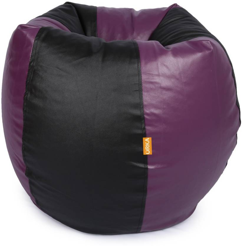 ORKA XXL Classic Bean Bag With Bean Filling Purple, Black