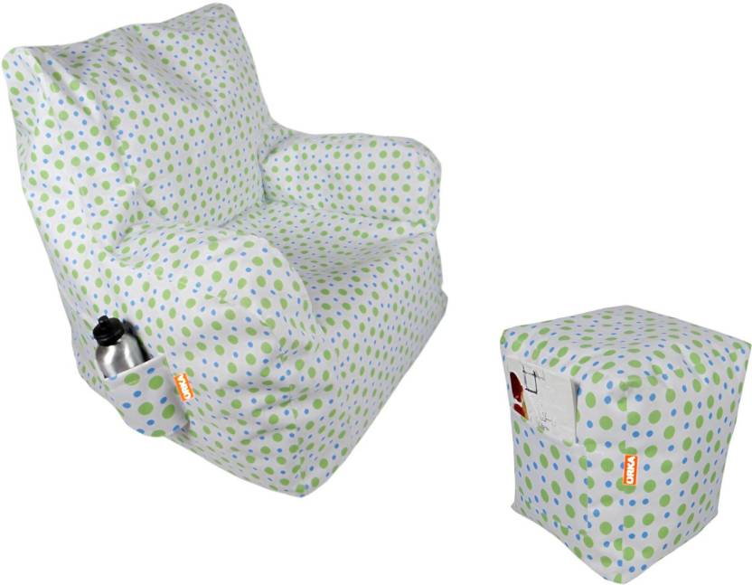ORKA XXL Chair Bean Bag Cover  Without Beans  Green, White