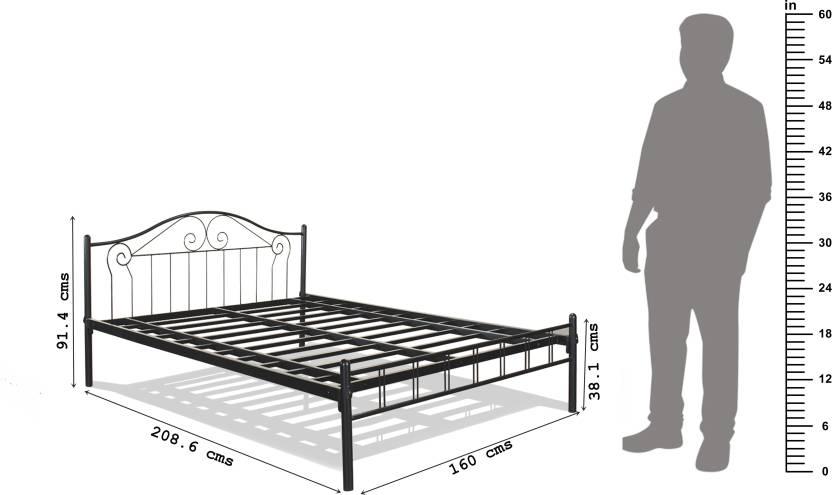 FurnitureKraft Geneva Metal Queen Bed