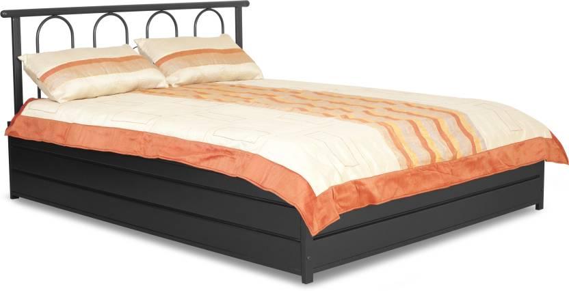 FurnitureKraft Double Metal Queen Bed With Storage