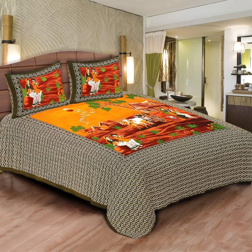 847fe0f5b0 Gurukripa Shopee Cotton Double Printed Bedsheet (Pack of 1, Khakhi)