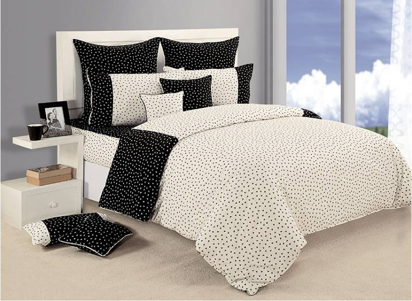 991363bae0 Swayam Shades of Paradise Cotton Bedding Set (Black, White, 8 Piece  Complete Bedroom Set)