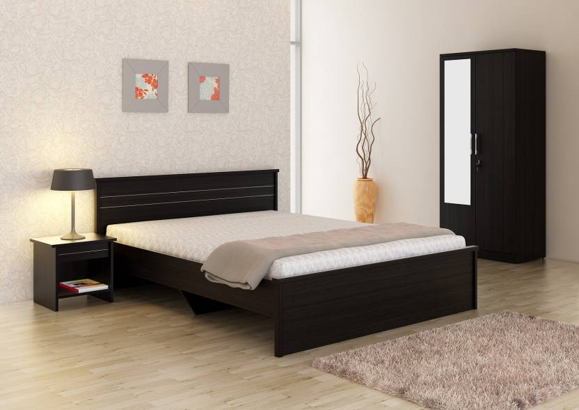 Spacewood Engineered Wood Bed + Side Table + Wardrobe Price in India ...