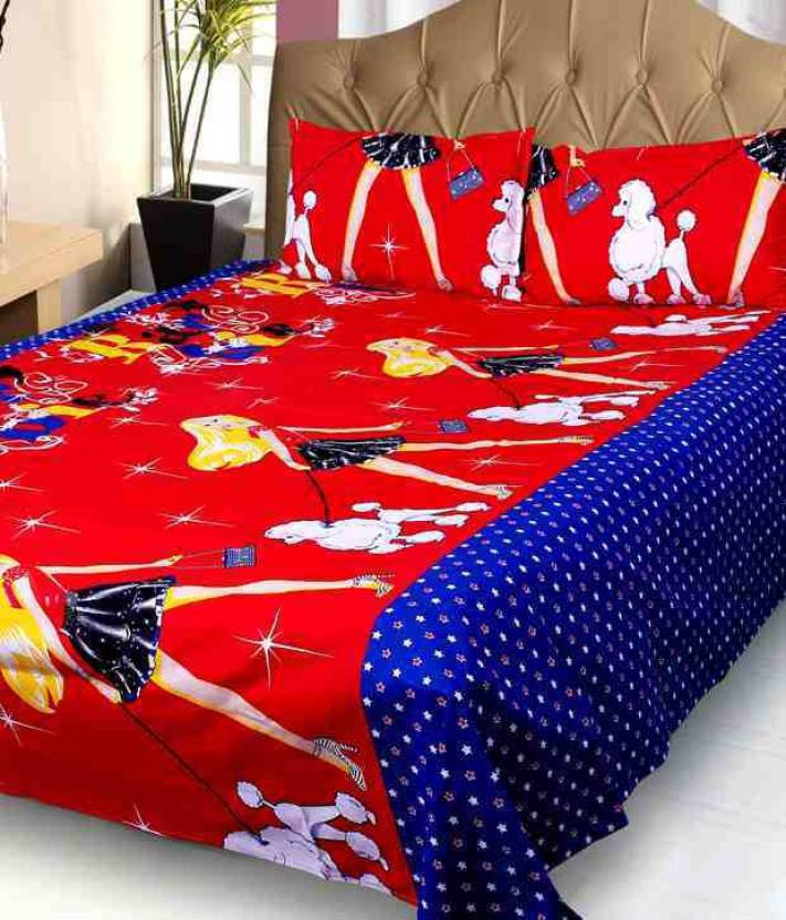 3479fdeecd Galaxy Decorations Cotton Double Cartoon Bedsheet (Pack of 1, Multicolor)