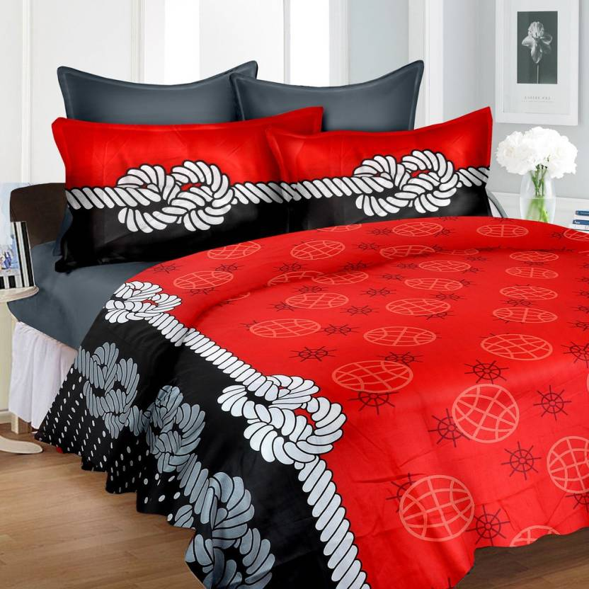 b0faa4a01358 Cortina 240 TC Satin Double Floral Bedsheet (Pack of 1, Red : Black)