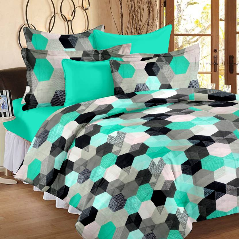 Ahmedabad Cotton 144 TC Cotton Double Geometric Bedsheet  (Pack of 1, Green)