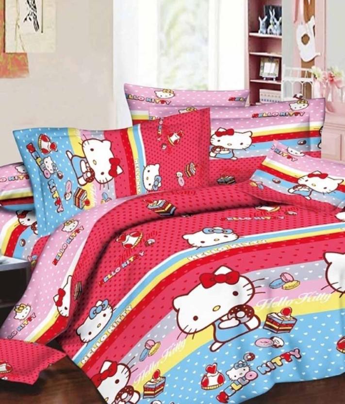 Hello Kitty Cotton Double Cartoon Bedsheet
