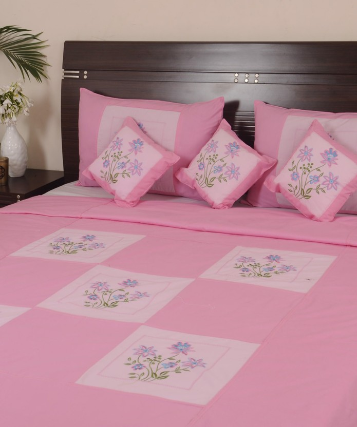 Looms Of India 140 TC Cotton Double Embroidered Bedsheet