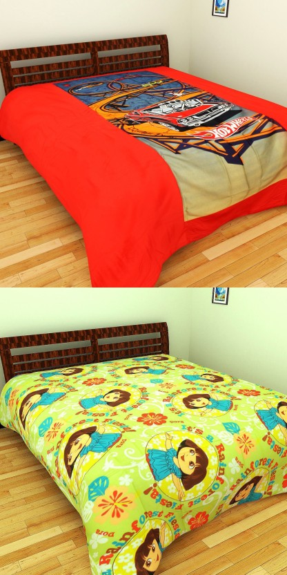 Hot Wheels Cotton, Satin Double Cartoon Bedsheet