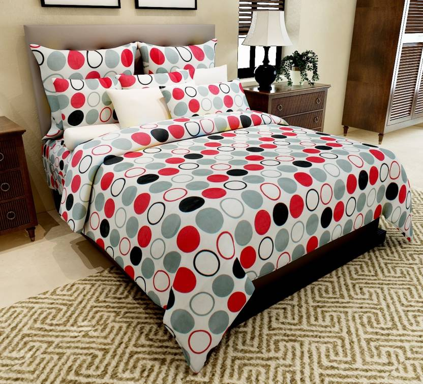 Home Candy 144 TC Cotton Double Geometric Bedsheet  (Pack of 1, Pink)