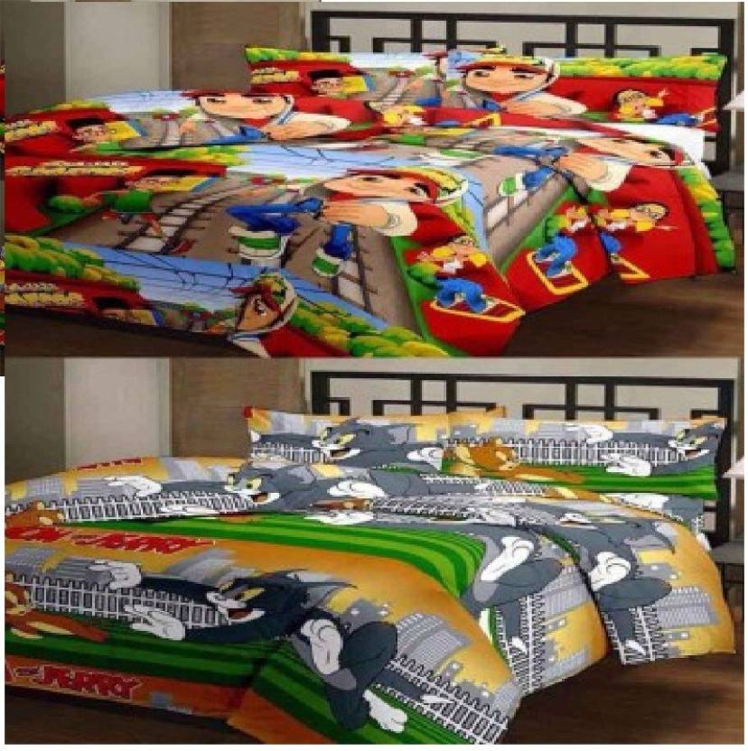 littlejoy Polyester Printed Single Bedsheet  (2 badsheets & 2 pilloew cover, Multicolor) By Flipkart @ Rs.489