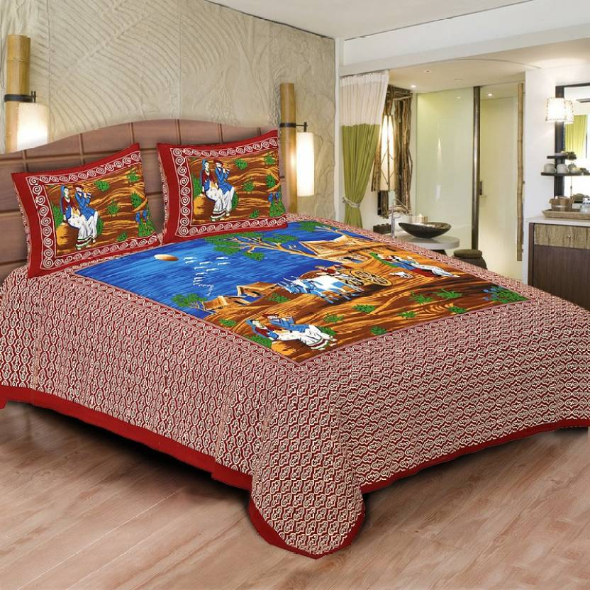 Shilpbazaar Cotton Printed Double Bedsheet