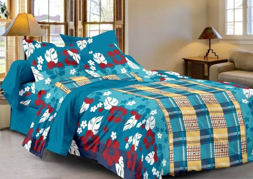 Cenizas Cotton Geometric Double Bedsheet
