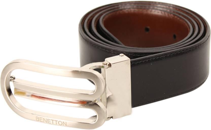 United Colors of Benetton Men Formal Black Genuine Leather Reversible Belt