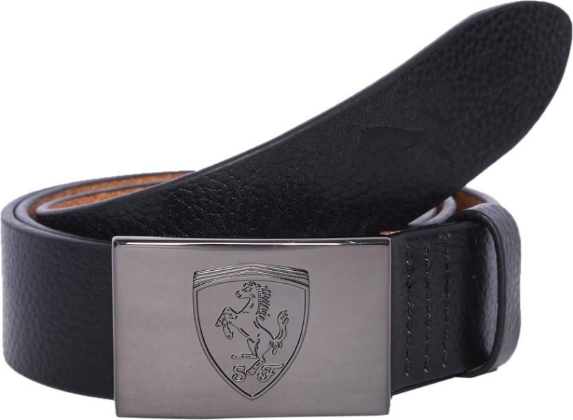 100/% Mens Black Leather Belt with Gold Ferrari Automatic Buckle Waist Strap