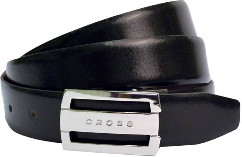 Cross Men Formal, Evening, Party, Casual Black, Brown Genuine Leather Reversible Belt