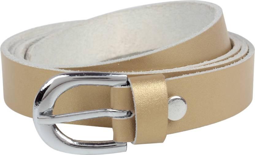 Exotique Women Formal Gold Genuine Leather Belt