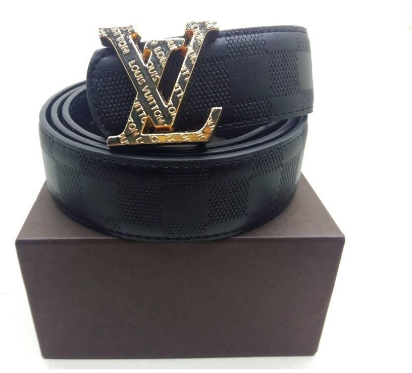 a3fefbc8b2f6 LV Men Black Artificial Leather Belt black - Price in India ...