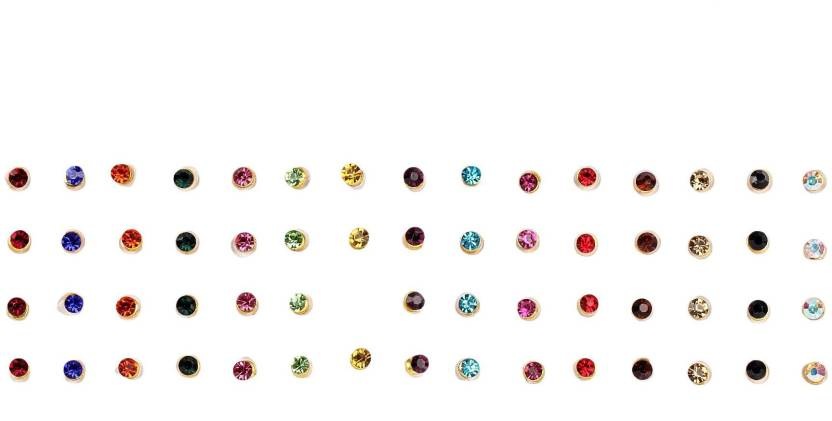 Instabuyz 60 Pcs Precious Stones Womens Girls Multicolor Bindis