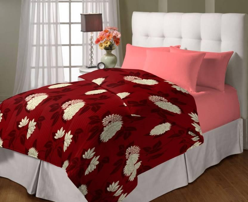 Upto 30% off On Blankets, Quilts & Dohars By Flipkart | Bella Casa Floral Single Dohar Maroon  (Dohar) @ Rs.342