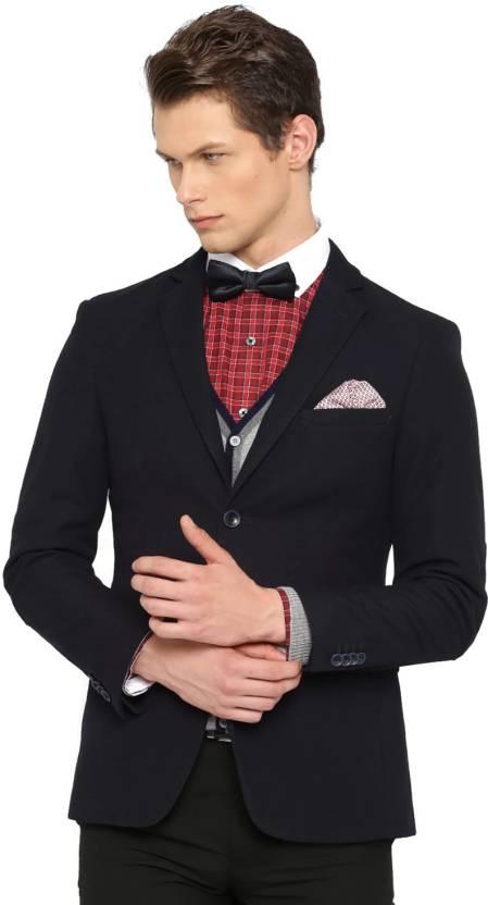 67dd55f029df Invictus Self Design Single Breasted Formal Men's Blazer (Dark Blue)