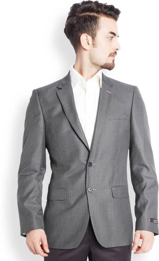 a429e15e73a Raymond Checkered Single Breasted Formal Men s Blazer - Buy Grey ...