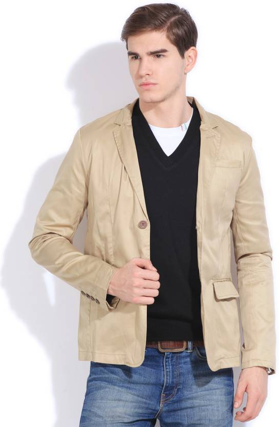 The Indian Garage Co Solid Casual Men S Blazer Buy Brown The