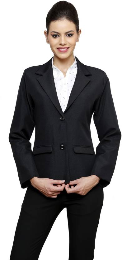 NGT Solid Double Breasted Formal Women s Blazer - Buy Black NGT ... 62fe7c8a32