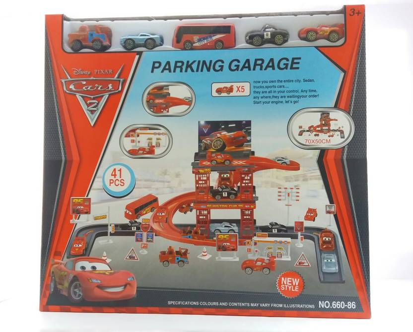 Gpz 41 Pcs Disney Mcqueen Motor Car Park Garage Racing Track Toy