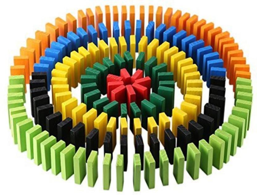 Lewo 1000 Pcs Wooden Dominoes Set for Kids Building Blocks Racing Tile Games Bag