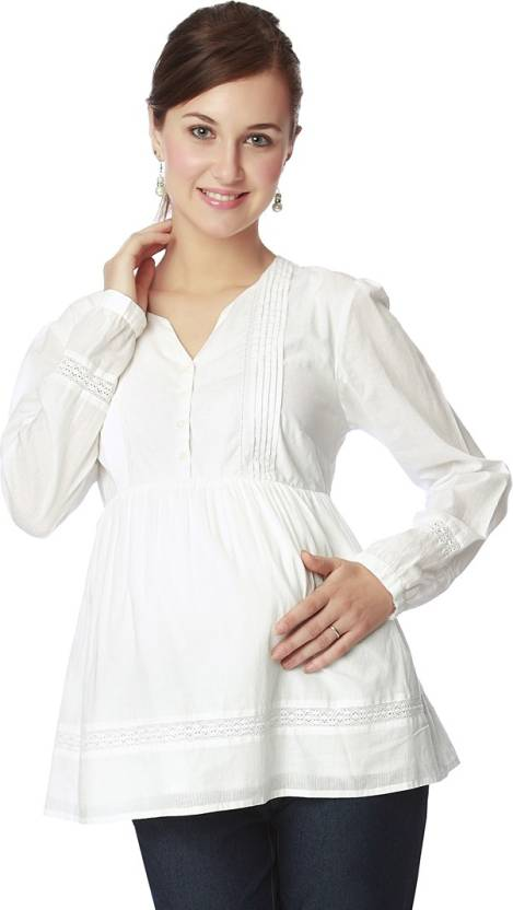 eb744b74fffb Nine Maternity Wear V-Neck Women's Stitched Blouse - Buy White Nine  Maternity Wear V-Neck Women's Stitched Blouse Online at Best Prices in  India | Flipkart. ...