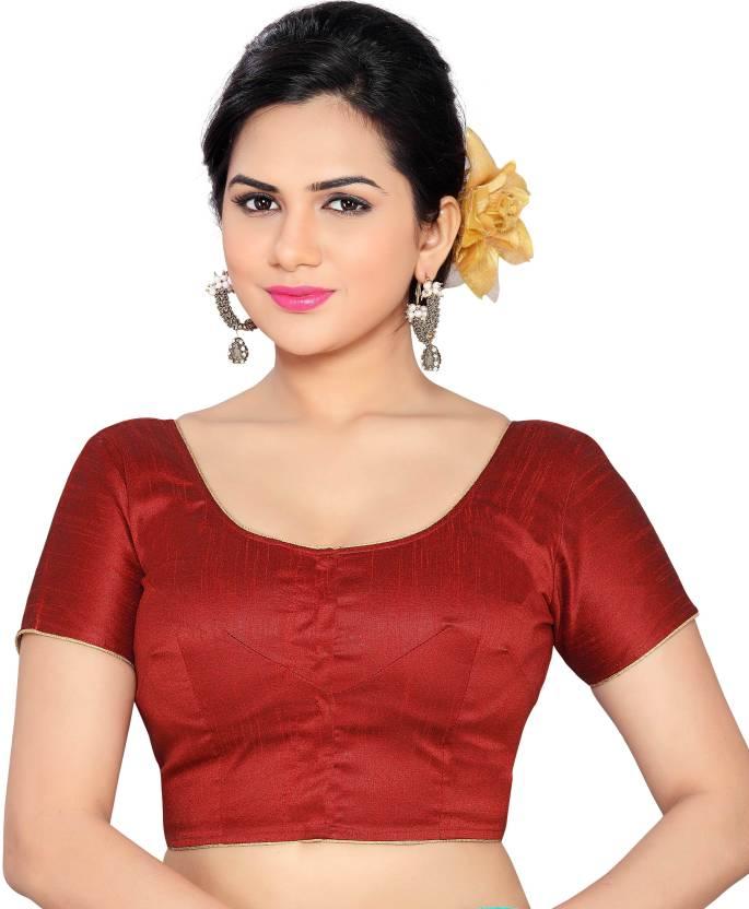 295a62063cfb6a Studio Shringaar Round Neck Women s Stitched Blouse - Buy Maroon Studio  Shringaar Round Neck Women s Stitched Blouse Online at Best Prices in India  ...
