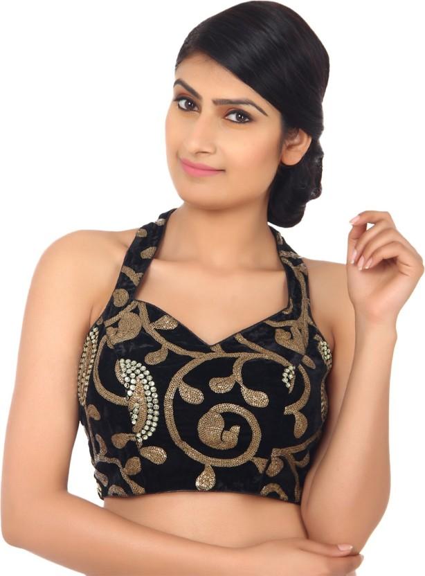 cc4e9e00a80c6 Amodini halter neck women stitched blouse buy black gold jpg 614x832 Halter  neck blouses