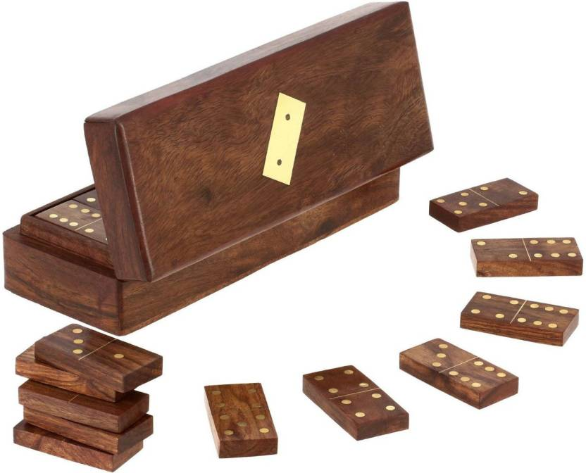 Royaltylane Set Of 8 Handmade Wooden Domino Tile Game In Storage