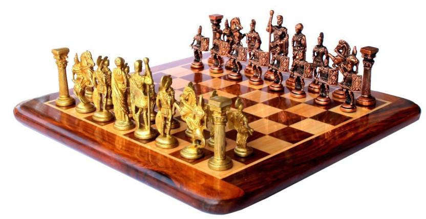 Stonkraft Collectible Rosewood Wooden Chess Set With Brass Roman Pieces Coins Board Game