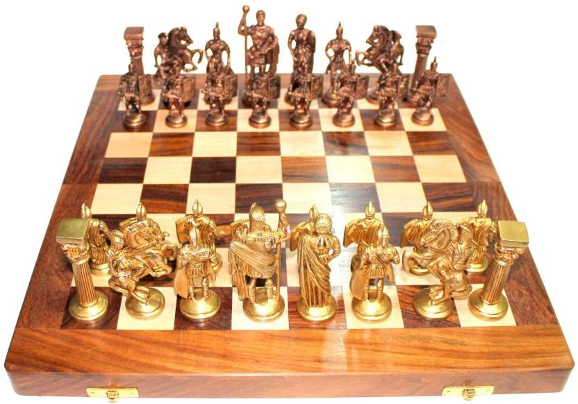 Stonkraft Collectible Wooden Folding Chess Game Board Set Brass Roman Figure Pieces Board Game