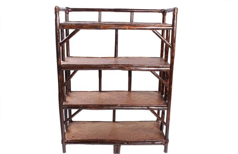 Novelty Cane Art Solid Wood Open Book Shelf