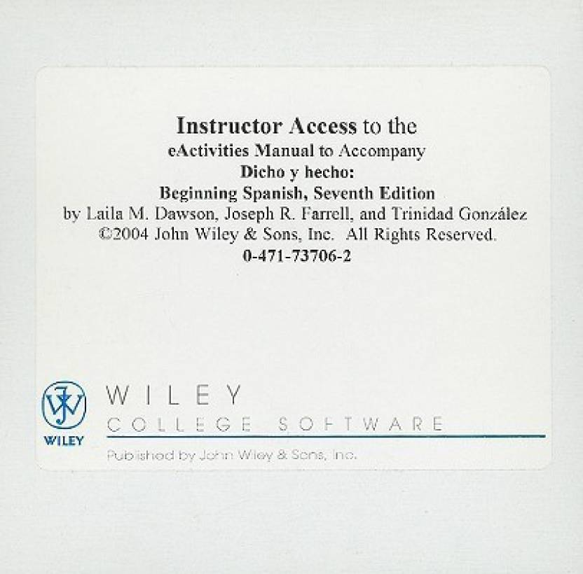 Dicho 7e Instructors Reg Card For Quia Activities Manual, To